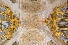 塞戈维亚,西班牙, 2016年:大教堂Nuestra de夫人la亚松森y de圣弗鲁托斯de塞戈维亚器官和哥特式穹顶  图库摄影