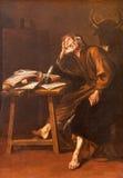 塞戈维亚,西班牙:圣卢克油漆福音传教士在我们的设想的夫人大教堂里由未知的atist 图库摄影