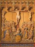 塞戈维亚,西班牙:在十字架上钉死多彩哥特式安心在教会莫纳斯特里奥de圣安东尼奥el心房的真正从15 分 图库摄影