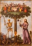 塞戈维亚,西班牙:耶稣符号绘画和在大教堂Nuestra de夫人la亚松森y de圣弗鲁托斯de塞戈维亚的死亡 库存照片