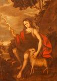 塞戈维亚-年轻圣约翰绘画浸礼会教友在教会莫纳斯特里奥de圣安东尼奥el里真正由未知的艺术家16 分 免版税库存照片