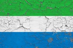 塞拉利昂的旗子在破裂的肮脏的墙壁上绘了 葡萄酒样式表面上的全国样式 向量例证