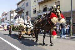塞拉尔朱斯,意大利- 2016年9月11日:古老婚姻Selargino -撒丁岛 免版税库存图片