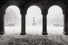 贝塞斯达喷泉在中央公园,冬天暴风雪,纽约 免版税库存照片