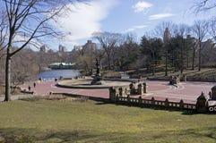 贝塞斯达大阳台和喷泉中央公园纽约晴朗的冬日 免版税库存照片