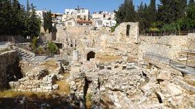 贝塞斯达废墟水池在耶路撒冷旧城耶路撒冷 库存照片