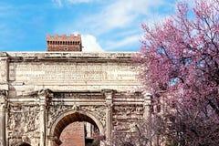 塞普蒂米乌斯・塞维鲁曲拱在春天 罗马的论坛 免版税库存图片