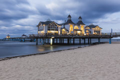 塞林码头在晚上 免版税库存照片
