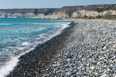 塞浦路斯的南部的海岸在Kourion附近的 库存照片