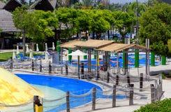 塞浦路斯,利马索尔- 2012年5月14日:在waterpark的看法 免版税库存照片
