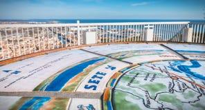 塞特港,法国白色石头取向桌的看法  库存图片