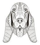 贝塞猎狗被传统化的头zentangle 免版税库存照片