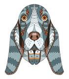 贝塞猎狗头zentangle传统化了,导航,例证,自由 免版税库存照片