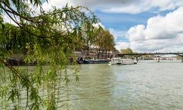 塞纳河的美丽如画的堤防在巴黎,法国 大厦和结构树 免版税库存图片