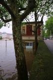 塞纳河洪水在2016年6月02日的巴黎 免版税库存照片
