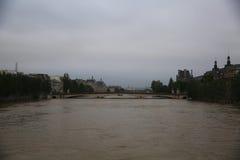 塞纳河洪水在巴黎 库存照片