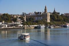 塞维利亚河和他的塔 免版税库存照片