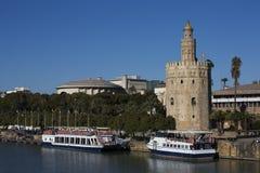 塞维利亚河和他的塔 免版税图库摄影