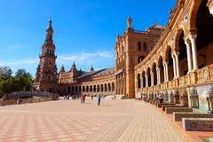 塞维利亚西班牙广场 免版税库存照片