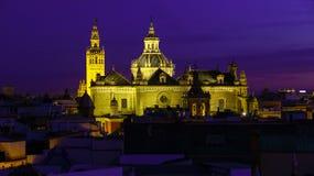 塞维利亚西班牙视图卡特德拉尔de塞维利亚大教堂,塞维利亚全景  库存照片