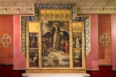 塞维利亚西班牙 2018年2月22日:城堡, Retablo Virgen de los Navegantes宫殿  免版税库存照片