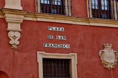 塞维利亚,西班牙的历史建筑和纪念碑 西班牙语 de弗朗西斯科广场圣 图库摄影