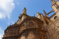 塞维利亚,西班牙的历史建筑和纪念碑 Catedral de圣玛丽亚de la塞德 免版税库存照片