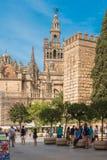 塞维利亚,西班牙-大约2017年10月:Cath的哥特式大厦 免版税库存图片