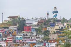 塞罗圣安娜低角度视图在瓜亚基尔厄瓜多尔 库存图片