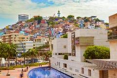塞罗圣安娜看法在瓜亚基尔厄瓜多尔 库存照片