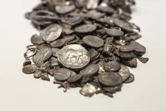 塞罗科罗拉多,在古西班牙做的最旧的硬币囤积居奇, Malag 免版税图库摄影