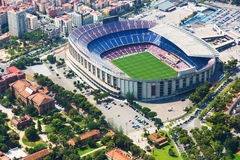 巴塞罗那体育场从直升机的 西班牙 库存图片