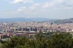 巴塞罗那全景场面,西班牙,观点 库存图片