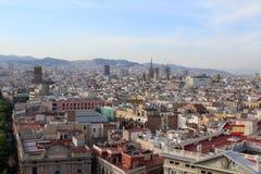 巴塞罗那全景场面,西班牙,观点 库存照片
