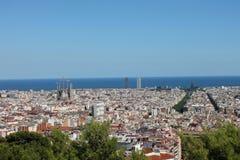 巴塞罗那全景从Parc de Montjuic的 免版税库存照片