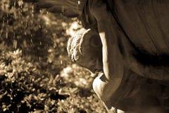 巴塞罗那公园Montjuic喷泉雕象关闭 免版税图库摄影