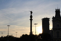 巴塞罗那冒号纪念碑, Cristoforo科伦坡,西班牙 免版税库存图片