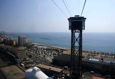 巴塞罗那卡塔龙尼亚缆索铁路的San Sebastian西班牙塔 缆索铁路巴塞罗那 免版税库存照片