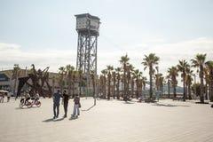 巴塞罗那卡塔龙尼亚缆索铁路的San Sebastian西班牙塔 缆索铁路巴塞罗那 库存图片