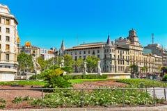 巴塞罗那卡塔龙尼亚catalynia de placa西班牙广场 免版税库存照片