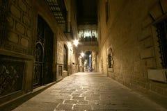 巴塞罗那哥特式闪亮指示运输路线晚上季度 空的巷道在巴塞罗那 库存照片