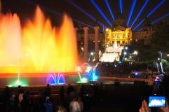 巴塞罗那喷泉横向唱歌 免版税图库摄影
