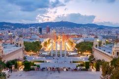 巴塞罗那喷泉魔术 免版税库存照片