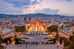 巴塞罗那喷泉魔术 免版税图库摄影