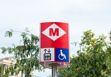 巴塞罗那地下路标 库存图片