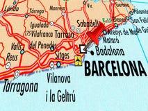 巴塞罗那地图有被刺中的别针的 免版税库存图片