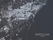 巴塞罗那地图,卫星看法,西班牙 图库摄影