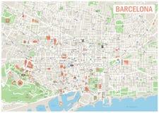 巴塞罗那地图 图库摄影