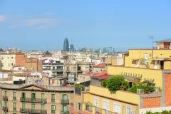 巴塞罗那地平线和Torre Agbar,西班牙 库存图片