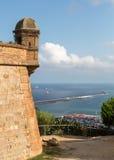 巴塞罗那城堡和地中海 图库摄影